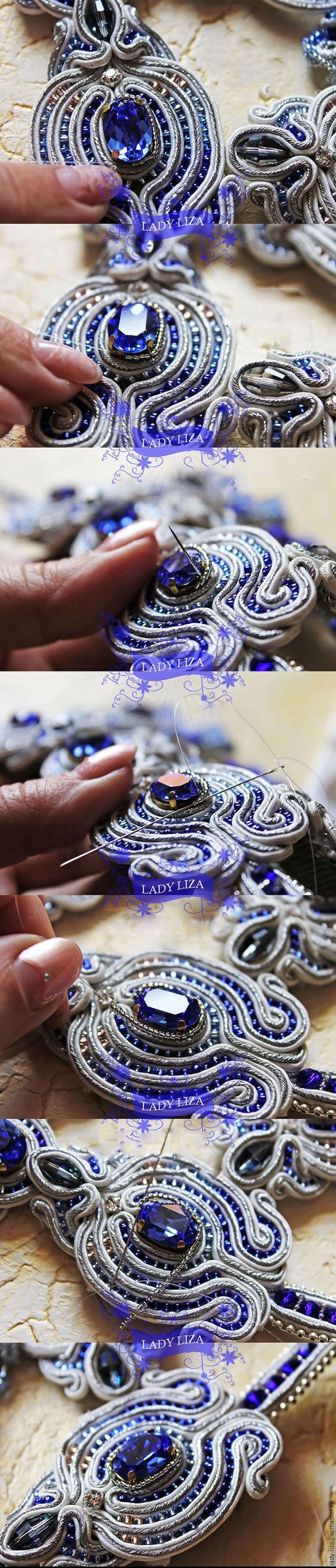 Вышиваем свадебное сутажное колье «Прибой» с кристаллами Swarovski - Ярмарка Мастеров - ручная работа, handmade