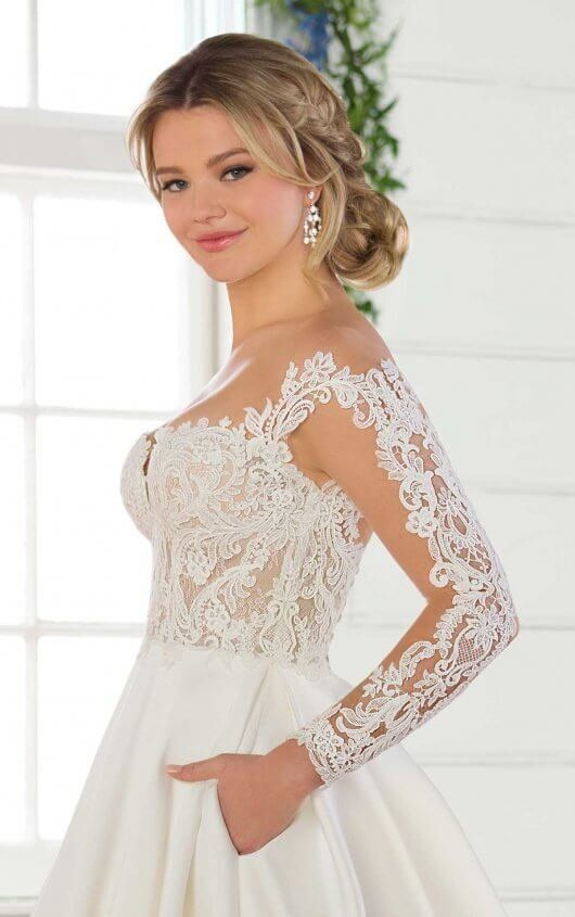4830d4c2bbf2 D2567 Formal Ballgown Wedding Dress with Sheer Bodice by Essense of  Australia