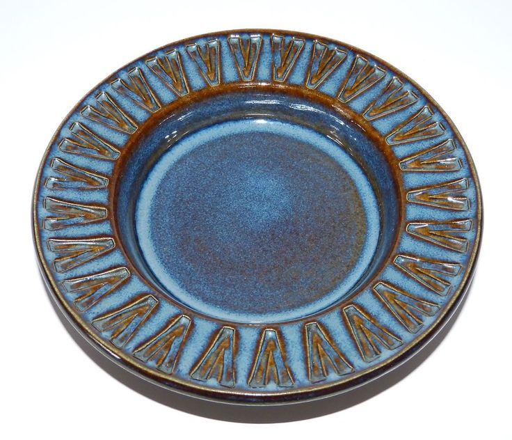 Vintage SOHOLM STENTJOJ Art Pottery 7.25  BLUE Dish BOWL Einar JOHANSEN Denmark
