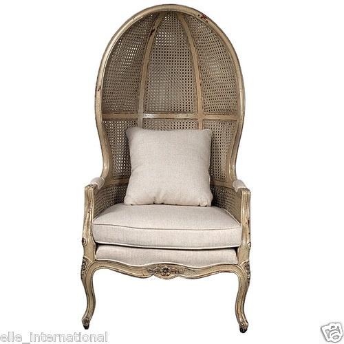 Bench Made Mahogany Balloon Chair Double Cane Canopy Antique Cream Finish  New | EBay