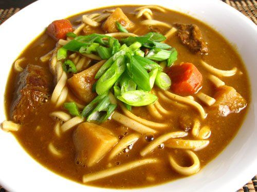 Kare Udon (Curry Udon Soup). Could substitute box curry for 1oz homemade japanese curry roux