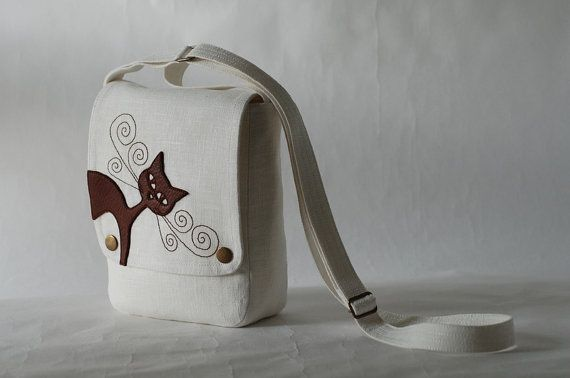 Small linen messenger bag  cream white  leather cat by sraige, $33.00