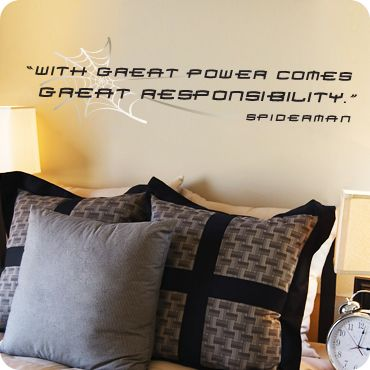 With Great Power - Spiderman (wall decal from WallWritten.com).
