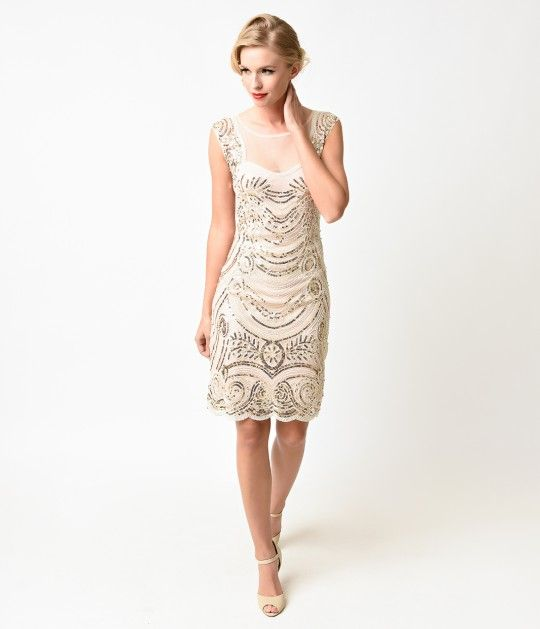 1920s Style Cream & Gold Beaded Deco Illusion Short Flapper Dress