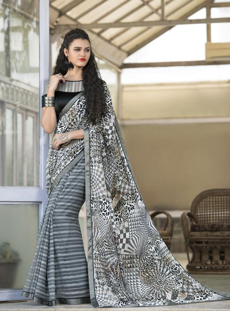 Gray Silk Printed Saree With Blouse 80700