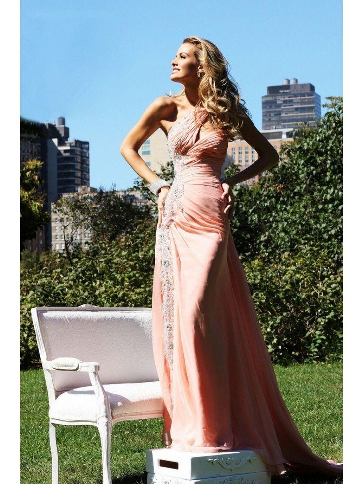Sheath / Column One Shoulder Long Chiffon Prom Evening Formal Dresses 3401010