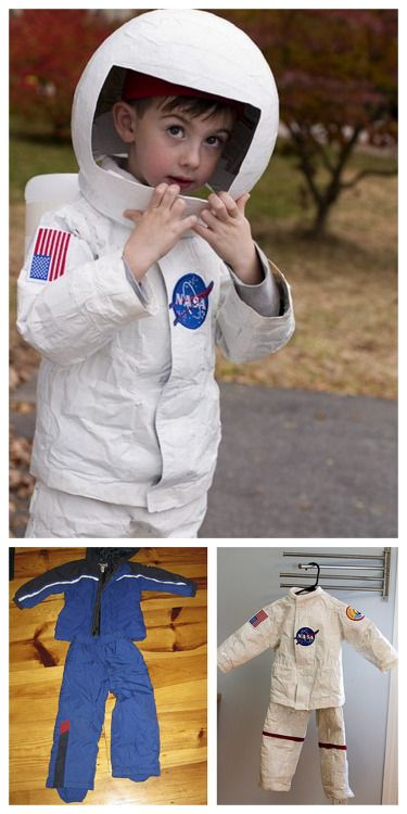 DIY Astronaut Costume Tutorial from stitch/craft. Or it could be titled snow suit to white duct tape astronaut costume. The helmet is made out of paper mache over a balloon then cut. For more kids' costumes go here.