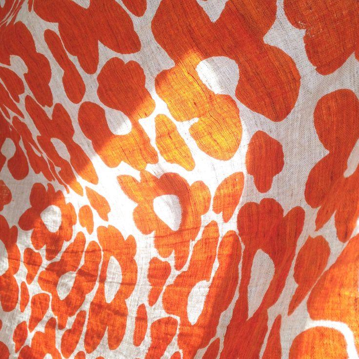 Hand screened linen, orange crush! @ www.acleverspark.com