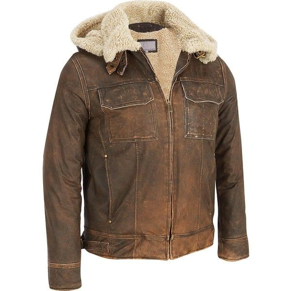 Big Tall Wilsons Leather Vintage Leather Bomber Jacket w/... ($360) ❤ liked on…
