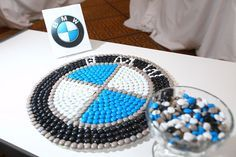 BMW returned as the automotive sponsor this year with an all-white lounge area for guests—with a touch of color from this edible logo.  Photo: Tony Brown/imijphoto.com for BizBash
