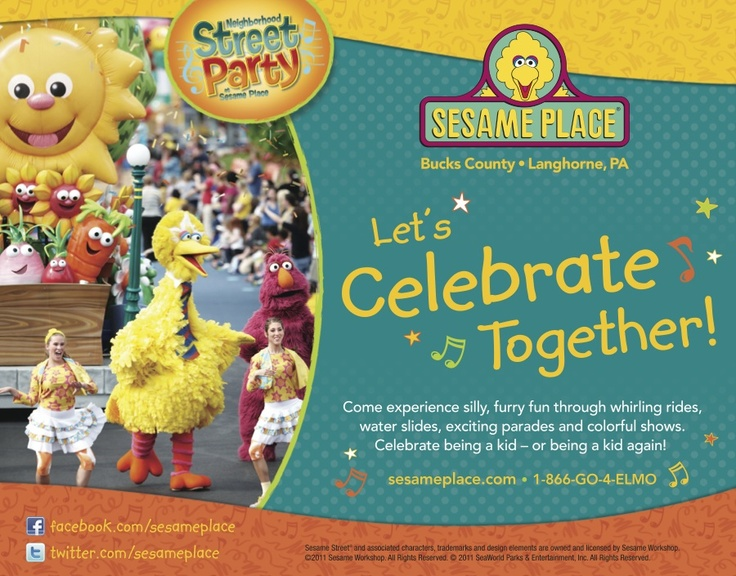 "Kids and kids-at-heart will adore Sesame Place's (@Sesame Place) many wet and dry rides, parades, shows and the opportunity to meet their favorite furry characters. This photo is part of the Visit Bucks County ""Repin It To Win It Contest."" Repin this photo until May 1, 2012 to win four single day tickets to Sesame Place."