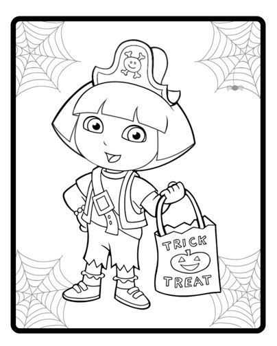 Free dora the explorer halloween coloring pages ~ Dora as a pirate! | Silly Spooky Halloween | Pinterest ...