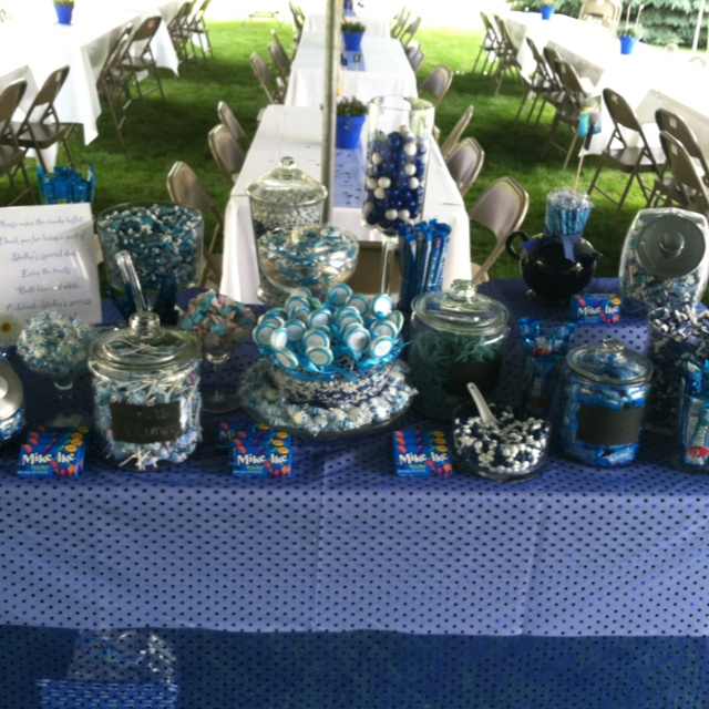 blue candy buffet for my sisters graduation party