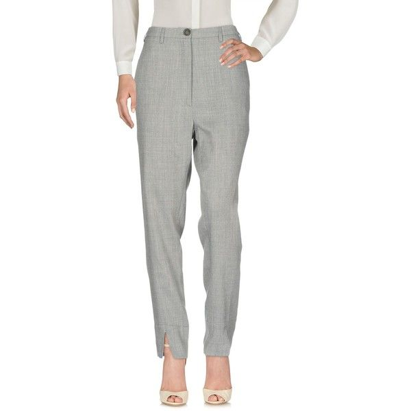 Vivienne Westwood Anglomania Casual Trouser (450 CAD) ❤ liked on Polyvore featuring pants, grey, gray flannel pants, gray pants, straight leg trousers, flannel trousers and mid rise pants