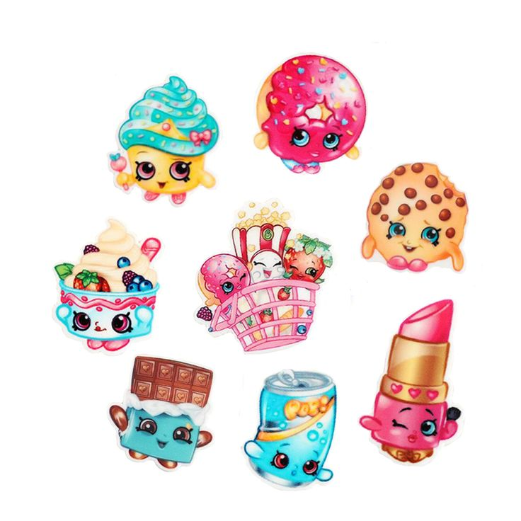 40Pcs Random Mixed Shopkins Topers Cupcake Lipstick Ice Cream Cookie Planar Resin Cartoon Kawaii Cabochons DIY Craft