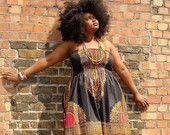 African Dashiki Diva Print Maxi Dress L by dorisanddoris on Etsy