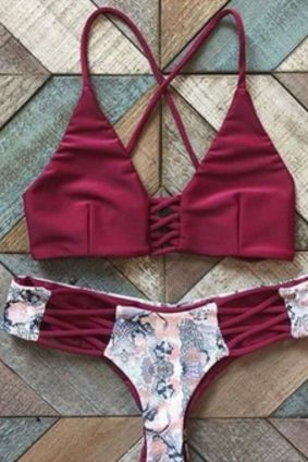CUTE HOLLOW OUT WINE RED TWO PIECE BIKINI