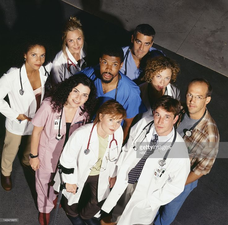 Laura Innes as Doctor Kerry Weaver; Noah Wyle as Doctor John Carter; Anthony Edwards as Doctor Mark Greene; (middle l-r) Julianna Margulies as Nurse Carol Hathaway; Eriq La Salle as Doctor Peter Benton; Alex Kingston as Doctor Elizabeth Corday; (back l-r) Gloria Reuben as Jeanie Boulet; Maria Bello as Doctor Anna Del Amico; George Clooney as Doctor Doug Ross