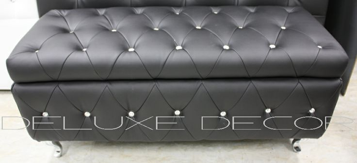 Monique Modern Black PU Leather Crystal Buttoned Storage Ottoman Seat http://deluxedecor.com.au/products-page/monique-collection/page/2/