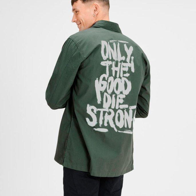 Regular fit, 100% cotton green shirt with white graffiti inspired print on the back | JACK & JONES