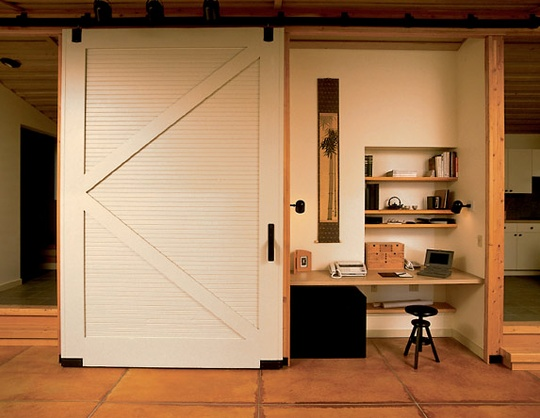 Mini office behind a sliding barn-style door. #office #cubicle #designs