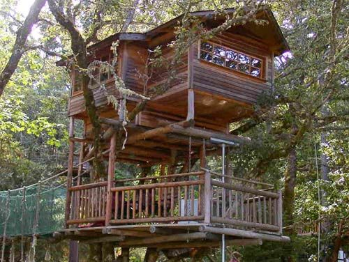 Who knew the world's largest concentration of treehouses is near Cave Junction, Oregon? At Out'n'About, you can sleep above the ground and get in some ziplining and river rafting in your downtime. ($120 per night)