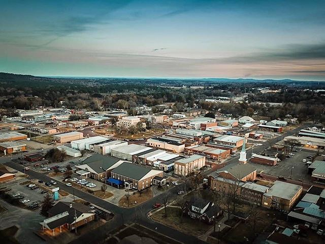 Soaring view of Gilmer Texas  Texas History- The City if
