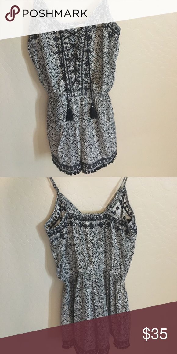 AE Outfitters romper size XS Super cute embellished romper! Black and white only worn once. American Eagle Outfitters Other