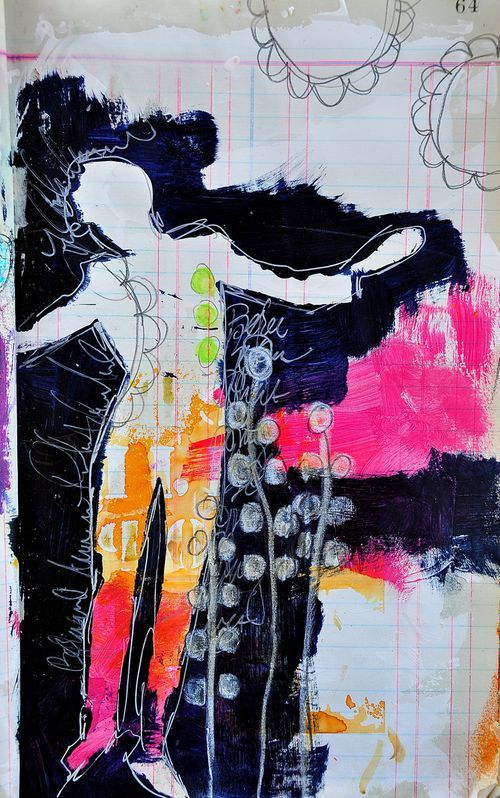By Dina Wakley. Love the silhouette.