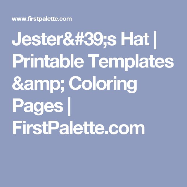 Jester's Hat | Printable Templates & Coloring Pages | FirstPalette.com