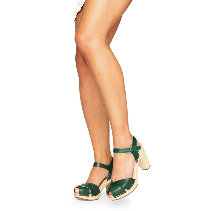 from Swedish Hasbeens · Merci Sandal in Deep Green