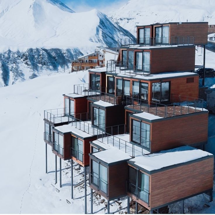 Shipping containers stack up into striking ski