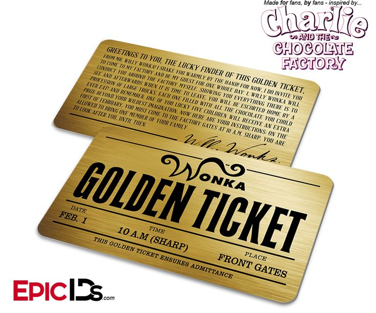 Willy Wonka / Charlie and the Chocolate Factory - Golden Ticket Card