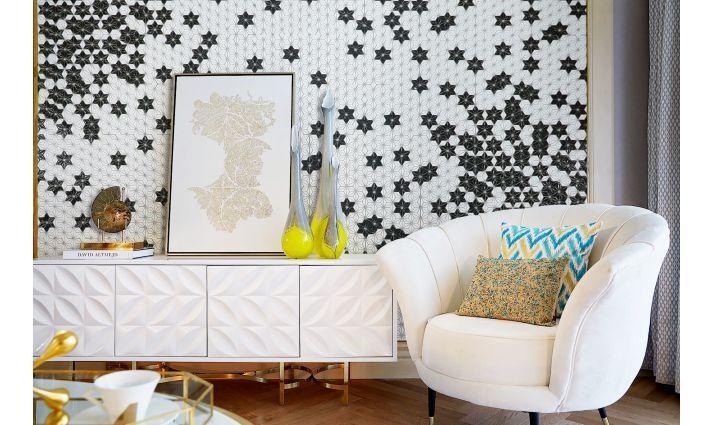 Constellation white biala mozaika ceramiczna w ksztalcie gwiazdy