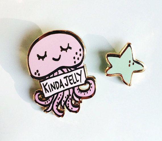 Kinda Jelly Set of Two Pins- Cute Jellyfish and Star Hard Enamel Pin Set - Lapel Pin Set-Hat Pins