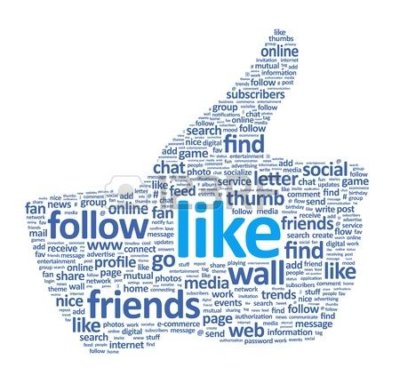 Visual Verbal Connection (Kaylin): This picture uses Facebook words to create the thumbs up symbol which is closely associated with this social networking website. This image could be used on one of the many mods we do on social networking.