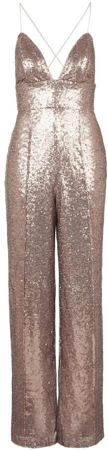 $118, Rare All Over Sequin Plunge Jumpsuit. Sold by Topshop. Click for more info: https://lookastic.com/women/shop_items/357426/redirect