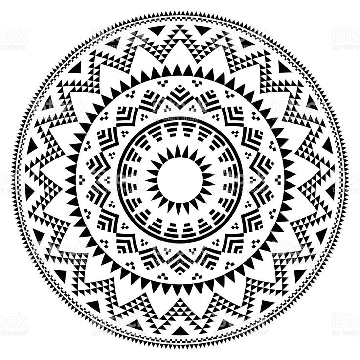 Tribal folk Aztec geometric pattern in circle royalty-free stock vector art