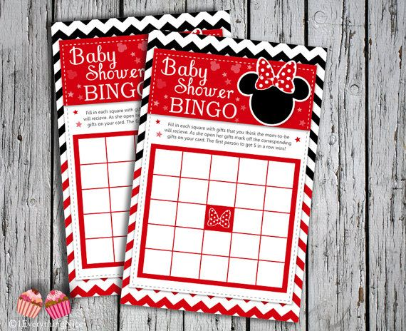 Minnie Mouse Red Baby Shower Bingo Cards