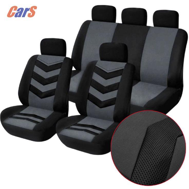 9ピース/ロット車カバーセットユニバーサル車のシートカバー通気性メッシュスポンジシートのカバー丈夫な車の座席黒青
