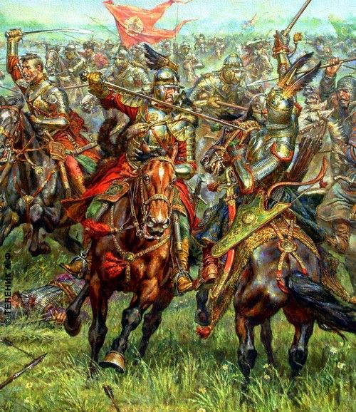 Polish hussars charge against Turkish heavy cavalry - A. F. Telenik