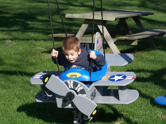 Wood Usaf Navy Bi Plane Swing And Or Airplane Stroller