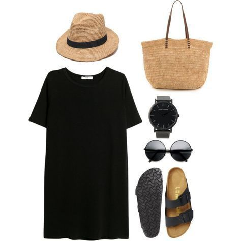 #summer #outfits / Black Oversize T-Shirt + Sandals Simple and comfortable. Not