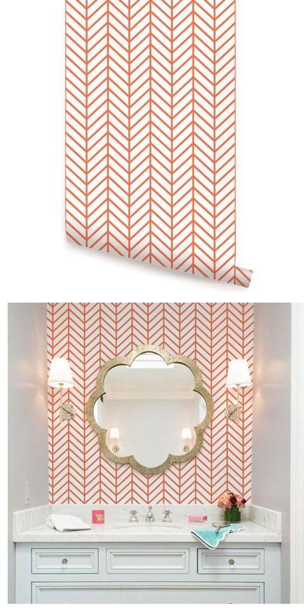 Herringbone Line Orange Peel and Stick Wallpaper  - Wall Sticker Outlet