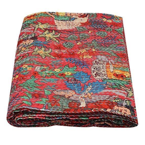 Twin//King Size 100/%Cotton Kantha Quilt Floral Print Bohemian Kantha Boho Quilt