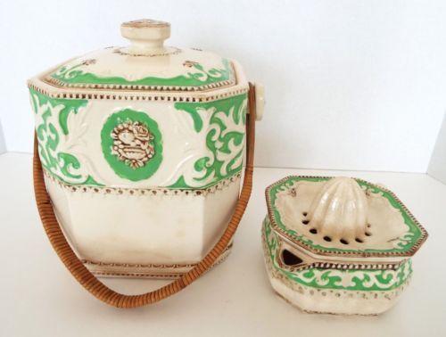 Estate-Lot-Antique-Biscut-Cookie-Jar-amp-Juicer-Victorian-Hand-Painted-Japan