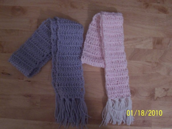 scarves for kids  --all dc, soft pink yarn, reg grey