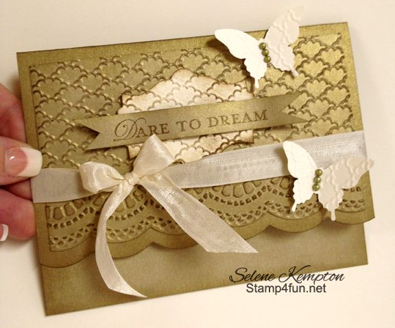 I think this would make a fabulous wedding or anniversary card with the brushed gold cardstock...or brushed silver or shimmer white (Stampin' Up! Specialty cardstocks)