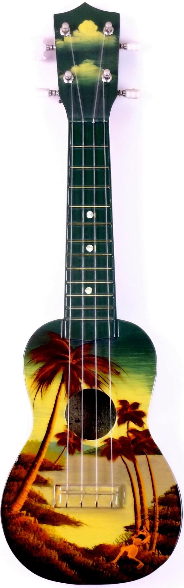 1950/60's Hilo Hand Painted Tourist Hawaiian Ukulele (Its yellowed quite a bit over the years)