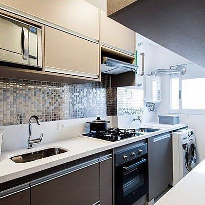 Cozinha integrada à lavanderia
